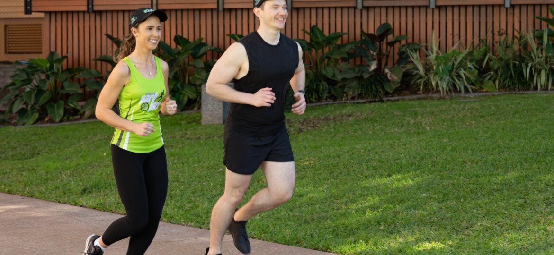 Brendan Modini and Kayley Taaffe running Park2Park Virtual Fun Run